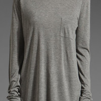 T by Alexander Wang Classic Long Sleeve Pocket in Gray