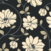 The Wallpaper Company 56 sq. ft. Beige and Black Large Scale Dramatic Floral Wallpaper-WC1283121 at The Home Depot