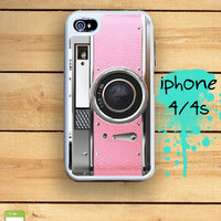 Capsule iPhone 4S / 4 Silicon and Hard Plastic 3 Part Phone Case / Princess Pink Vintage Camera Fits IPhone 4 and IPhone 4S