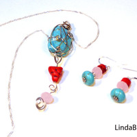 Turquoise Red and Pink Wire Wrapped Necklace Set