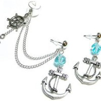 Oceanside Chain Ear Cuff Earrings Set Handmade: Jewelry