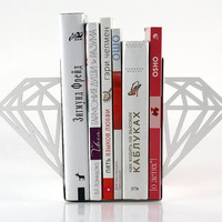 Minimalistic bookends - Diamonds - (white color)