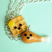 Chicken and Waffle Best Friend Necklaces by PumpkinPyeBoutique