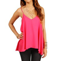 Peony Pink V Neck Tank Top