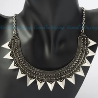 Vintage Silvery Punk Meniscus Amboss Spikes Studs Pendant Necklet Necklace
