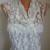 Creamy White  Lace Scarf - Women Scarves - Summer scarf shawl - Bridesmaid Gift - - fatwoman