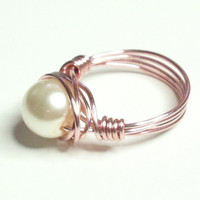 BUY ONE ITEM Get Free Spiral Ring White Pearl and Rose Gold Wire Wrapped Ring