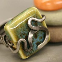 Ceramic Hammered Steel Ring