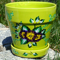 Hand Painted Green Flower Pot Planter