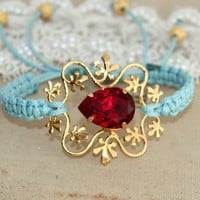 Friendship bracelet Aqua Ruby Red gold  - 14K gold plated hand braided bracelet .