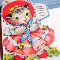 Birthday Greeting Card Keepsake Magnet - Happy Birthday Sweet Little Girl Kitten In A Pink Dress And Bonnet - Retro Vintage Kitsch