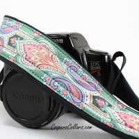Damask dSLR Camera Strap, Teal, Rose, Violet, Mint , SLR