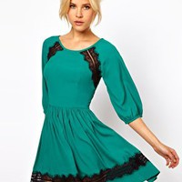 ASOS Skater Dress With Lace Trim at asos.com