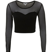 Black Textured Mesh Panel Long Sleeve Crop Top