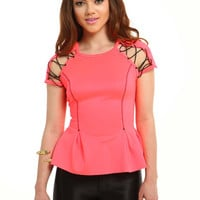 Electric Laced Peplum Top