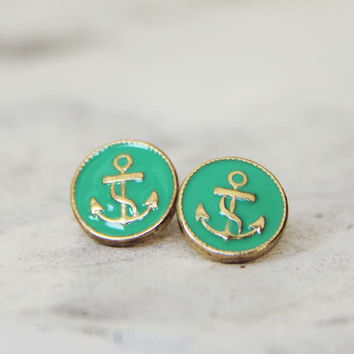 Anchors Away Stud Earrings in Mint, Sweet Bohemian Jewelry