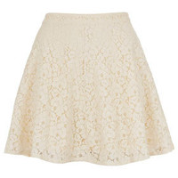 Cream Lace Skater Skirt - Skirts  - Clothing