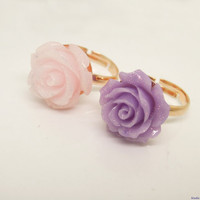1PC FASHION Copper jewelry Sparkle Pink or Purple Resin Floral Rose Adjustable Ring, Copper Ring, Plated Rose Gold Color