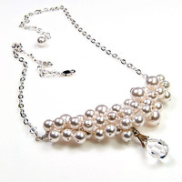 White Pearl Necklace, Bridal Necklace, Wedding Jewelry, Swaroski Pearls and Crystal Necklace