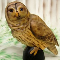 Barred or Hoot Owl Painted Carved Wood Bird Figurine | SandraHealy - Sculpture on ArtFire
