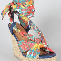 City Classified Willbe-S Peacock Feather Print Knotted Wedge