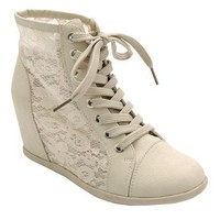 Amazon.com: Dana 12 Womens Lace Up Wedge Sneakers Beige: Shoes