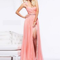 One Shoulder A-line Chiffon Floor-length Beading Prom Dresses [10129083] - US$126.99 : DressKindom