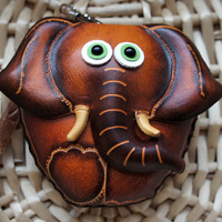 Leather Lucky Brown Asian Elephant Coin Purse Wristlet