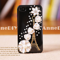 Eiffel Tower iPhone case, flowers iPhone 5 case, iPhone 4s case with bring crystal, handmade iPhone 4 cases, gift case