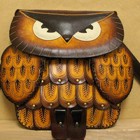 Tan Yellow Leather Owl Handbag Purse - HOOT :)
