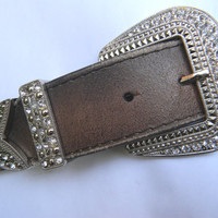 Brown Leather Rhinestone Belt With Art Deco Rhinestone Belt Buckle Keeper and Tip Distressed Leather Belt