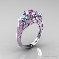 Modern 14K White Gold Three Stone Light Pink Sapphire Aquamarine Solitaire Engagement Ring, Wedding Ring R250-14KWGAQLPS