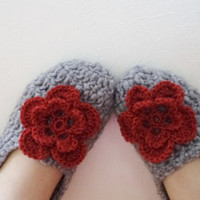 Valentin Gift, Wool Grey Crochet Socks Slippers, Whit red flower. Thick, Simply Socks, Women slippers house shoes.