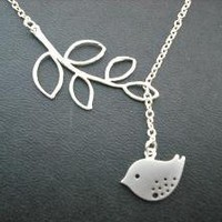 sweet little mod bird lariat matte white gold by Lana0Crystal