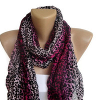 fashion purple leopard print scarf, wrinkled scarves , women trend scarf