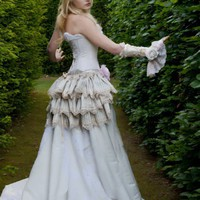 Vintage Bridal Wedding Bustle Skirt Steampunk Victorian Silk Downton Abbey Romantic Costume THE COMPANY of  WOLVES  by Lovechild Boudoir
