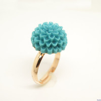 FASHION KIDS  jewelry Turquoise Blue Resin Flower Adjustable Ring, Copper Ring, Plated Rose Gold Color