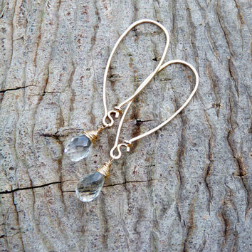 green amethyst and 14k gold filled earrings - simple earrings - dangle - hoop earrings - handmade - artisan jewelry - spring earrings