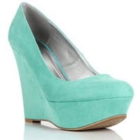 Mint Faux Suede Wedges 