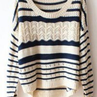 Deep Blue Striped  Hollow Sweater For Women