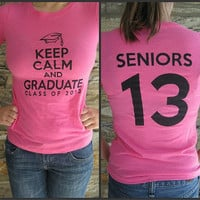 Class of 2013 T-Shirt -- Pink T Keep Calm and Graduate