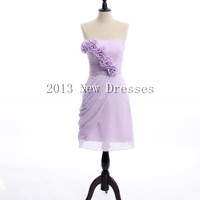 Cheap 2013 Elegant Strapless Chiffon Prom Bridesmaid Evening Dresses Party Dresses with Empire waist