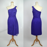 Cheap 2013 New Style A Line One Shoulder Knee Length Chiffon Purple Party Homecoming Bridesmaid Evening Prom Dresses