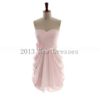 Cheap New Style Amazing Pink A-line empire waist chiffon dress for bridesmaid Prom Evening Dresses Party Dresses