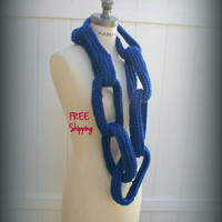 Royal Blue Chain  Scarf  Most Popular Item FREE SHIPPING Handmade Eternity Scarf Women Fashion  Neckwarmer - By PIYOYO