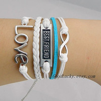 You are my best friend bracelet,Silver Love&Best Friend,infinity wish bracelet,white and blue wax rope and white leather braided bracelet