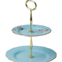 ROYAL ALBERT N/A New Country Roses Blue 2-Tier Cake Stand