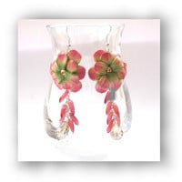 Polymer Clay Flower and Crystal Dangle Earrings