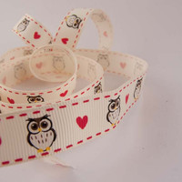 5 metre (5.46 yards) - Owls & Hearts Ribbon - 16mm Grosgrain Ribbon - UK seller