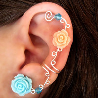 Non Pierced Ear Cuff  &quot;Roses are Pastel&quot; Cartilage Conch Cuff Silver tone Prom